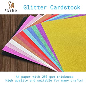 Glitter Cardstock Paper,24 Sheets, Multicolor Sparkle Glitter Paper A4 for Gift Box Wrapping Scrapbook DIY Party Decorations, 250 GSM, 12 Assorted Colors, Multipack (Pack of 2) (Tamaño: A4)
