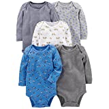 Simple Joys by Carter's Baby Boys 5-Pack Long-Sleeve Bodysuit, Blue/Grey, 6-9 Months (Color: Blue/Gray, Tamaño: 6-9 Months)