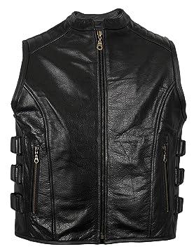 GILET CUIR BIKER , Veste gilet en cuir Biker (XL)