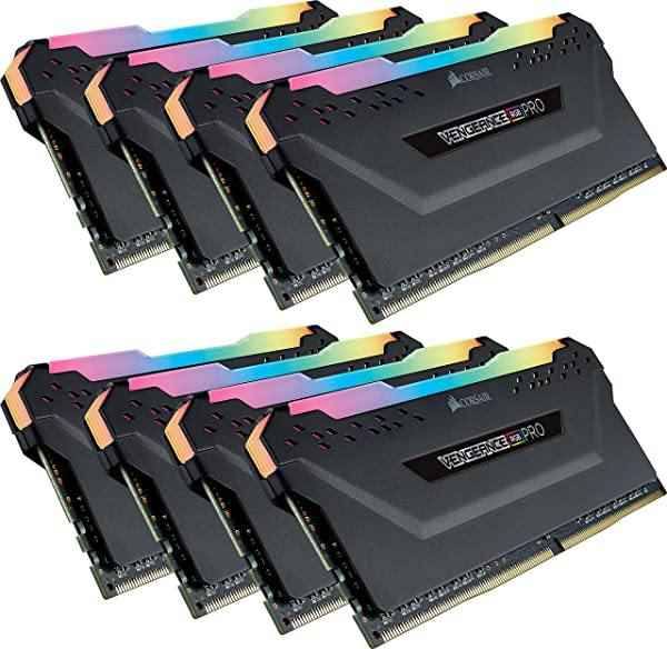 CORSAIR Vengeance RGB PRO 64GB (8x8GB) DDR4 3600MHz C18 LED Desktop Memory - Black (Color: RGB PRO - Black, Tamaño: 64GB (8x8GB))
