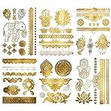 Metallic Henna Mandala Temporary Tattoos - Over 75 Designs (6 Sheets) Fake Shimmer Jewelry Inspired Mehndi Gold and Silver Terra Tattoos Maya Collection