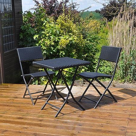 Kingfisher - Conjunto de mesa y sillas para jardín con efecto junco (Talla Única/Negro)