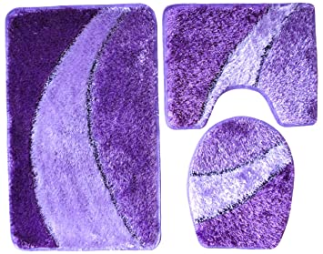 3 teilig badgarnitur lila flieder hochflor mit glitter badset badematten teppich stand wc dc160. Black Bedroom Furniture Sets. Home Design Ideas