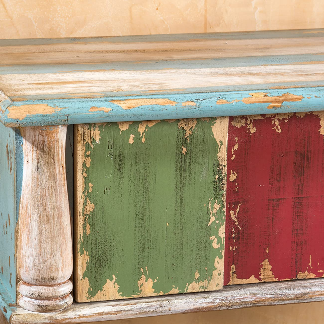 Leo Solid Wood 2 Drawer Console Table in Antique Weathered Multi-Color Style 1