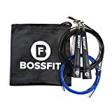 Bossfit Lightweight Speed Jump Rope For Men & Women | Heavy Duty & Fast Skipping Rope For CrossFit & Martial Arts Athletes | Adjustable 2.5mm Coated C