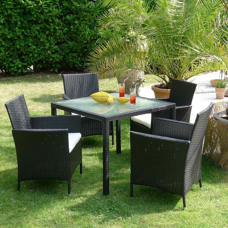 Gartengarnitur, Garten, Set, Polyrattan, Garnitur, Sitzgruppe, ebenholz- schwarz, Tisch mit Satinierter Glasplatte und 4 Stühlen, inkl. Sitzpolster