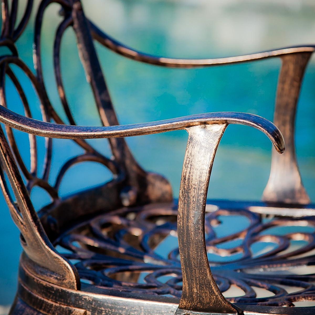 Gardena Patio Furniture ~ 7 Piece Outdoor Dining Set | Rust Resistant Cast Aluminum