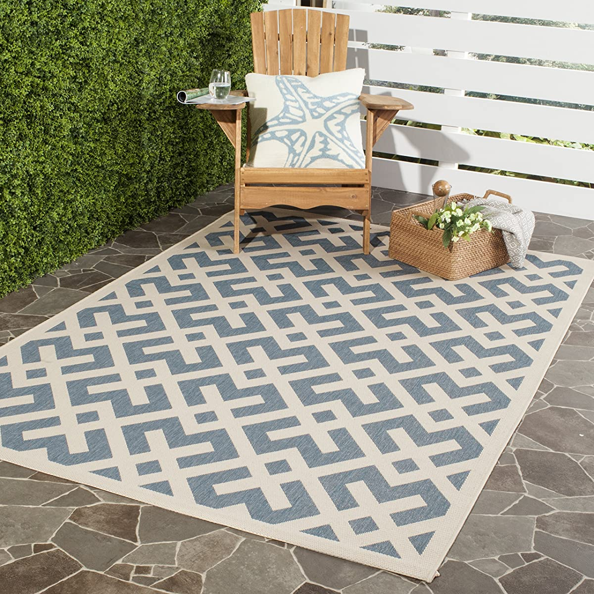 """Safavieh Courtyard Collection CY6915-233 Blue and Bone Indoor/ Outdoor Square Area Rug (67"""" Square)"""