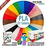 3D Pen Filament Refills - Premium Set of 21 Colors Bonus 200 Stencils EBook including 6 Glow in the Dark - Best 1.75mm PLA Filament Pack for 3D Pen (Color: 21 colors 689 Feet - Red, Orange, Yellow, Green, Sky Blue, Dark Blue, Violet, Pink, Skin, Brown, Si, Tamaño: X-Large)