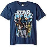 Star Wars Boys' Big Classic Battle Logo Graphic Tee, Navy Heather, YS (Color: Navy Heather, Tamaño: Youth Small)
