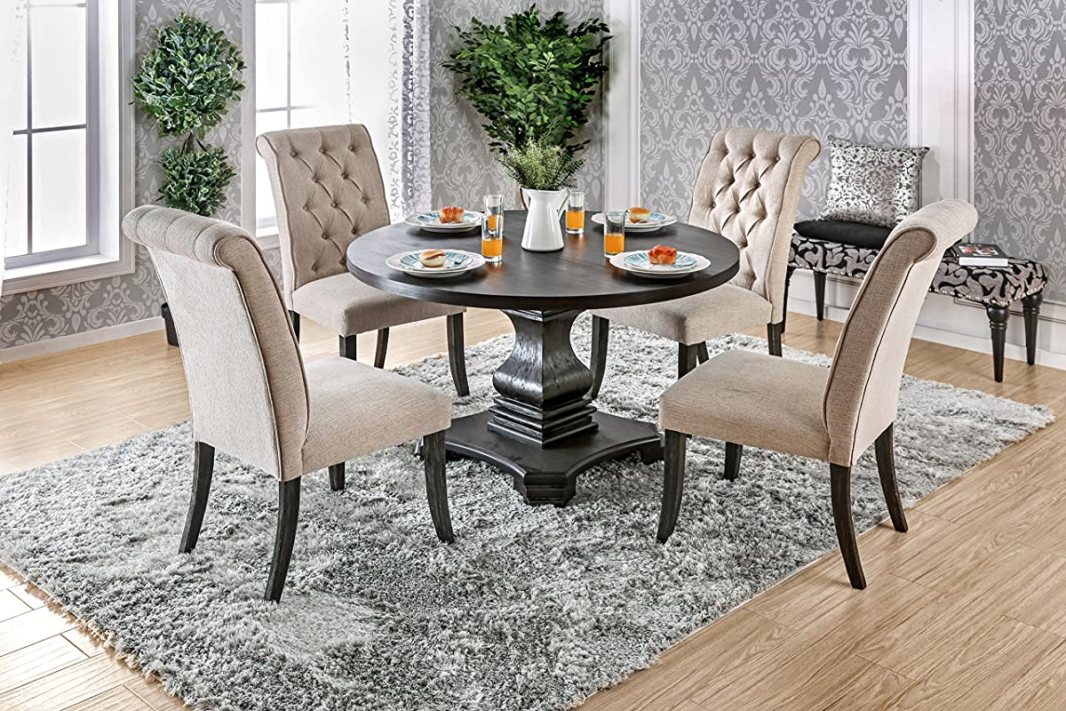 HOMES: Inside + Out IDF-3840RT Round Dining Table Transitional