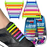 No Tie Shoelaces for Snickers, Converse, and Casual Footwear – 16 Slip On Tieless Elastic Silicone Shoe Laces for Adults, Kids, Teenagers, and Seniors (Color: Multicolor)