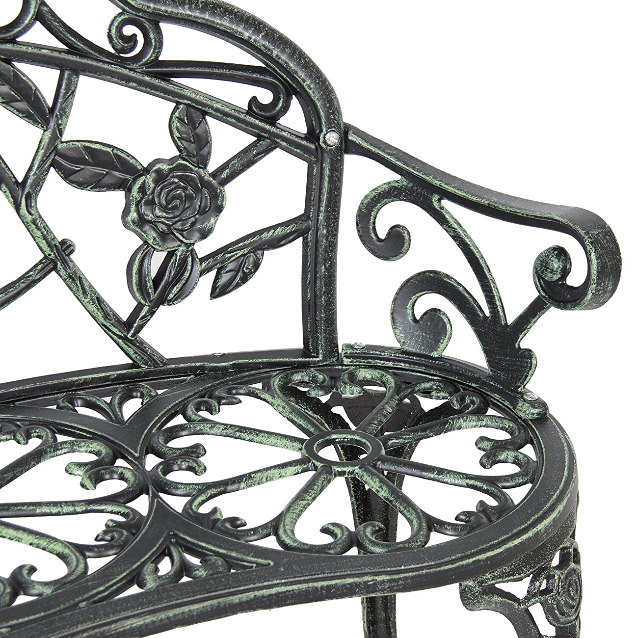 Best Choice Products BCP Outdoor Patio Garden Bench Cast Iron Antique Rose Backyard Porch Furniture 4
