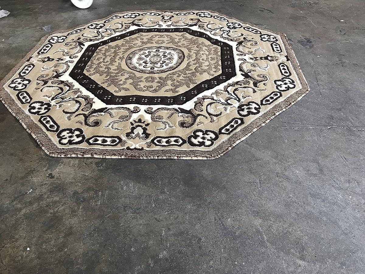 Traditional Oriental Persian Octagon Area Rug Beige Design 101 (7 Feet 3 Inch X 7 Feet 3 Inch)