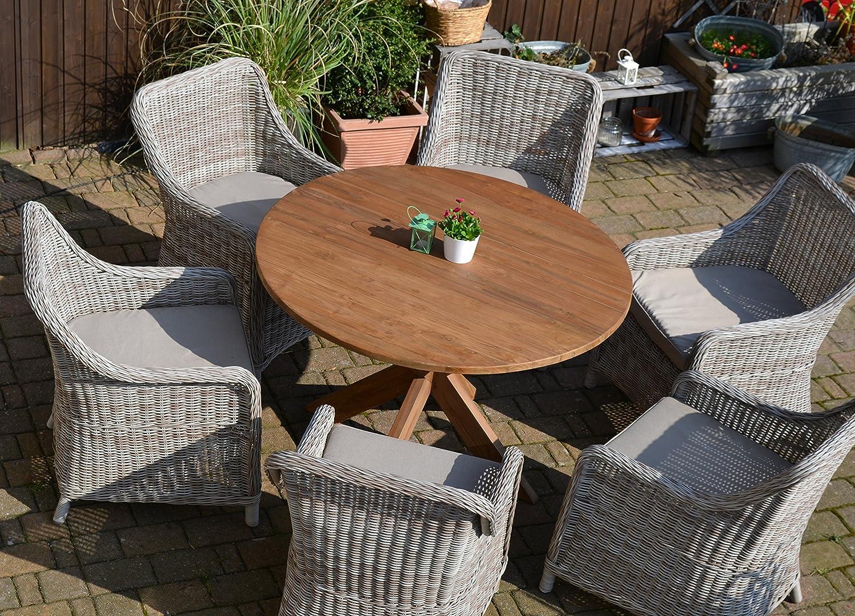 Teak Sitzgruppe Java Garten Garnitur Tisch (120 cm rund) und 6 Sessel / Stühle Rattan und recyceltes Teak günstig online kaufen