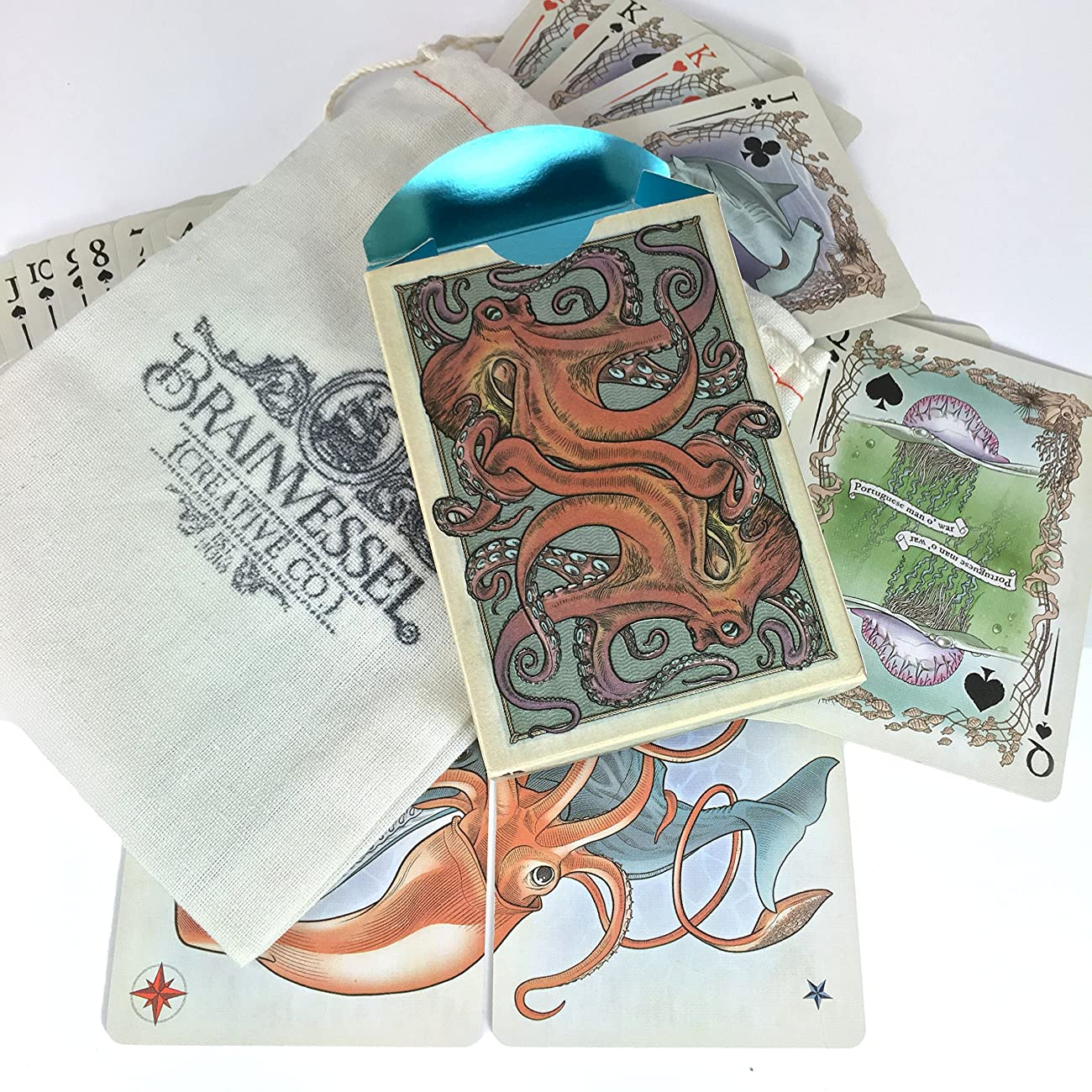 Colorized Sea Creature Themed Bicycle Playing Card Deck, Limited Edition 1