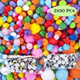 EpiqueOne Huge 2100 Pieces Pom Poms for Crafts Including 100 Colored Googly Eyes. Vivid Multicolor Glitter Pompoms Pink, Red, White, Blue. Wide Variety of Sizes 10-50mm. for Hobby, DIY, Decorating (Tamaño: 2100 pcs Multicolor Pom Poms set)