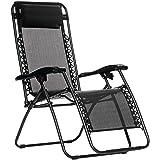 AmazonBasics Outdoor Zero Gravity Lounge Folding Chair, Black (Color: Black, Tamaño: 18.52inch)