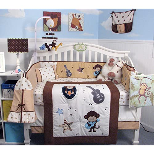 SoHo Monkey Rock Stars Baby Crib Nursery Bedding Set 14 pcs included Diaper Bag with Changing Pad & Bottle Case