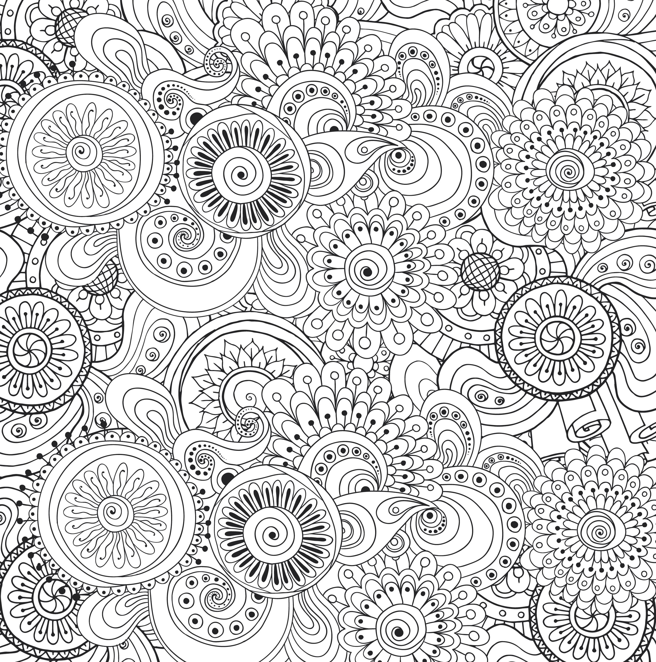 Galerry stress relief flower coloring pages
