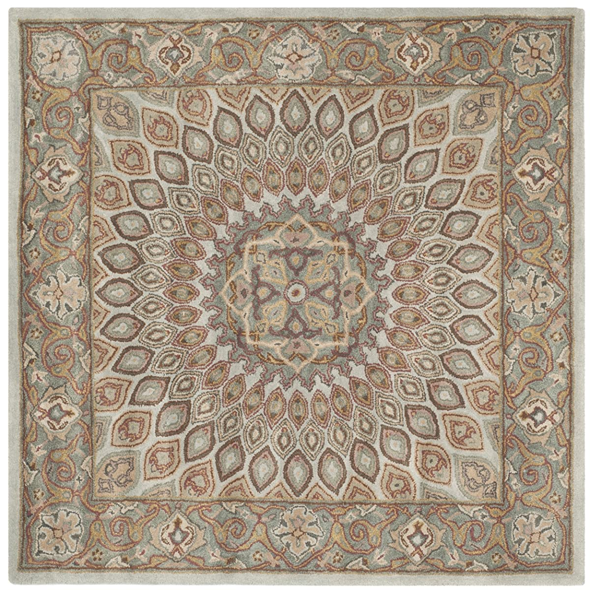 Safavieh Heritage Collection HG914B Handmade Traditional Oriental Blue and Grey Wool Square Area Rug (10 Square)