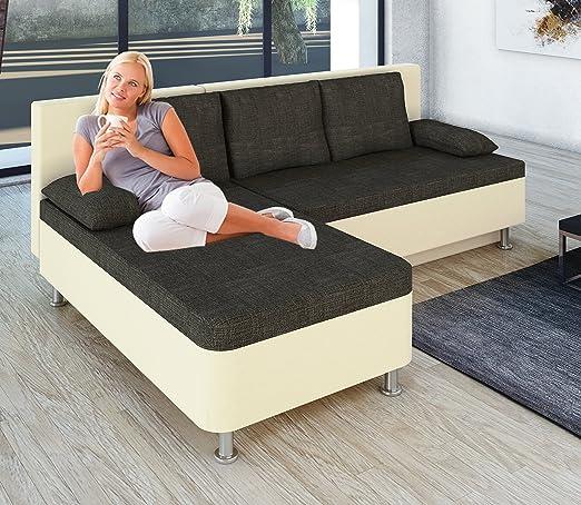 """VCM 904088 Ecksofa """"Stylosa"""" Kunstleder Couch mit Schlaffunktion, weiß"""