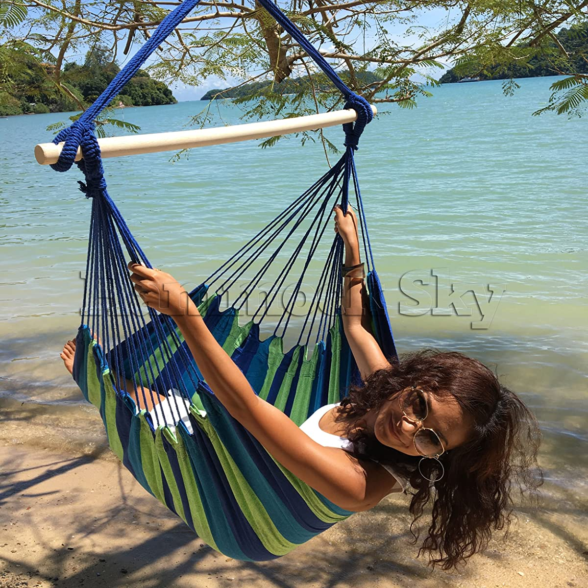 Large Brazilian Hammock Chair by Hammock Sky - Quality Cotton Weave for Superior Comfort & Durability - Extra Long Bed - Hanging Chair for Yard, Bedroom, Porch, Indoor / Outdoor (Blue & Green)