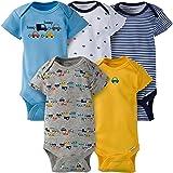 Gerber Baby Boys 5 Pack Onesies, Cars, 0-3 Months (Color: Cars, Tamaño: 0-3 Months)