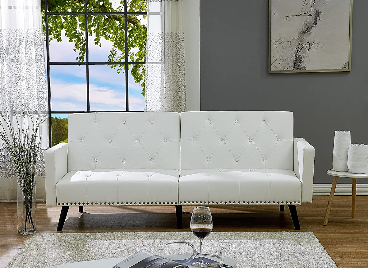 Naomi Home Convertible Tufted Futon Sofa Faux Leather/White
