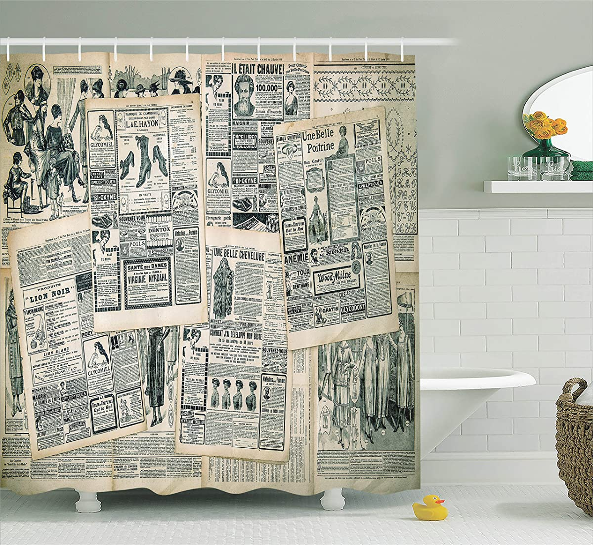 Ambesonne Antique Decor Collection Vintage Styled Layered Sepia Toned Newspaper Print With Old Fashioned Illustrations Polyester Fabric Bathroom