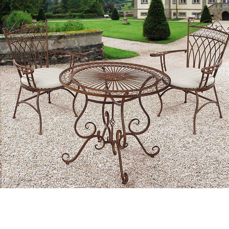 Gartenmöbel-Set aus Metall, Antik-Braun, 3-teilig kaufen