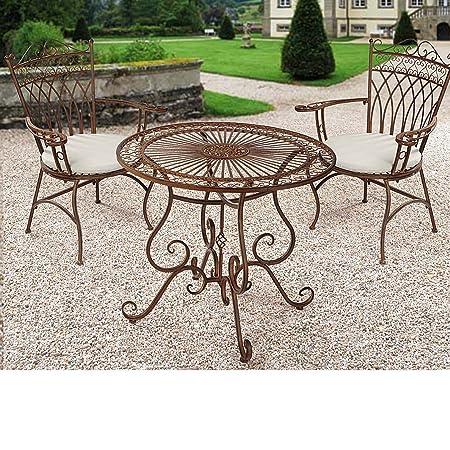 Gartenmöbel-Set aus Metall, Antik-Braun, 3-teilig