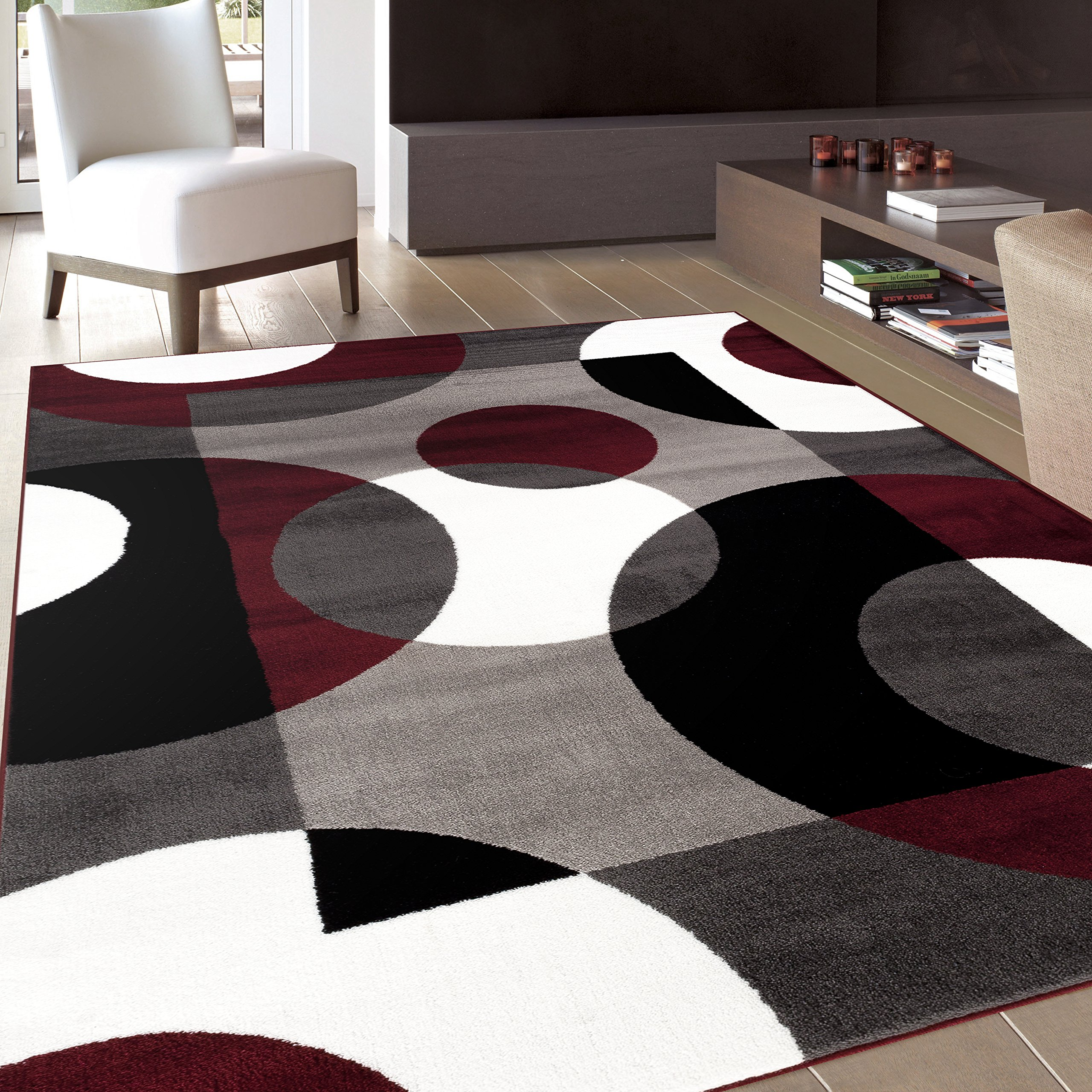Maroon Grey And White Living Room: Modern Area Rug 5x7 Burgundy Black Grey White Plush