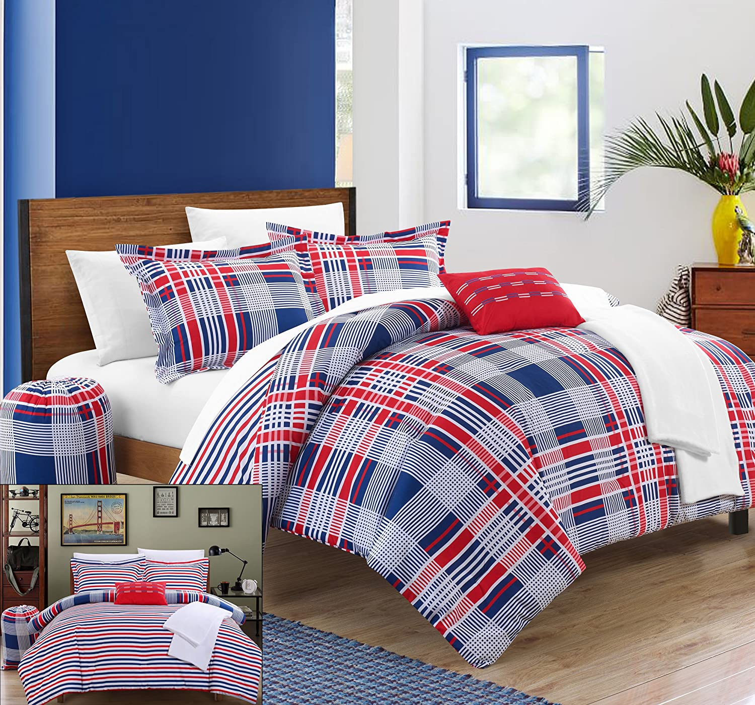Chic Home 8 Piece Manchester Plaid Printed Reversible Backing Bed in a Bag Comforter Set with Sheet, Twin X-Long, Red