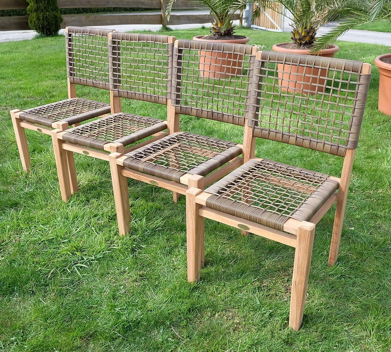 4Stück ECHT TEAK Design Rattan Sessel Gartensessel Gartenstuhl Sessel Holzsessel Gartenmöbel Holz geölt sehr robust Modell: RIO von AS-S bestellen