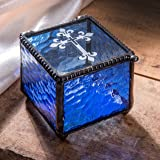 J Devlin Box 709-3 Etched Cross Keepsake Box Christening, Baptism, First Communion Confirmation Gift Rosary Blue Glass Jewelry Box (Color: Blue)