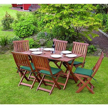Kingfisher - Set de muebles de patio / jardín de Madera robusta Modelo Concord 7 piezas (Talla Única/Marrón )