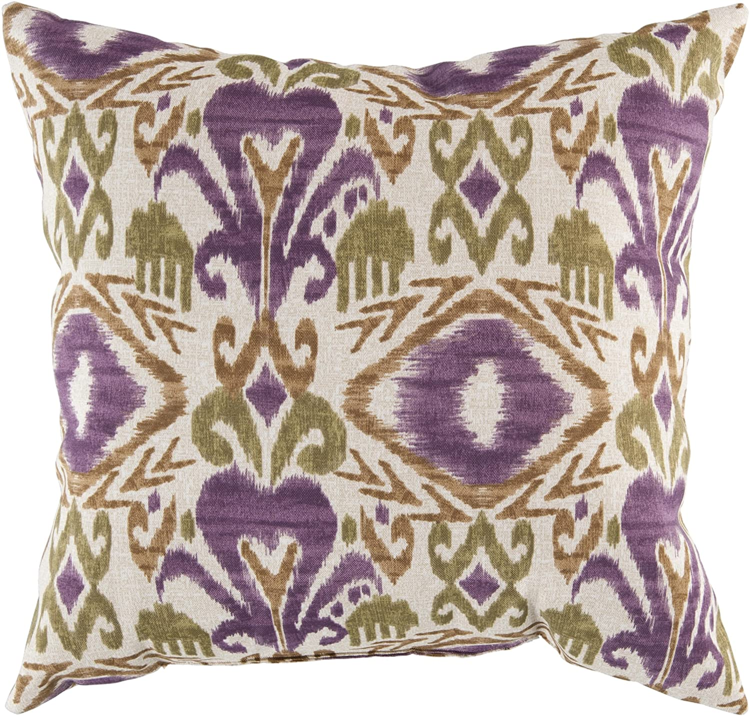 Surya ZZ421-1818 Indoor/Outdoor Pillow, 18-Inch by 18-Inch, Olive/Eggplant/Beige/Ivory