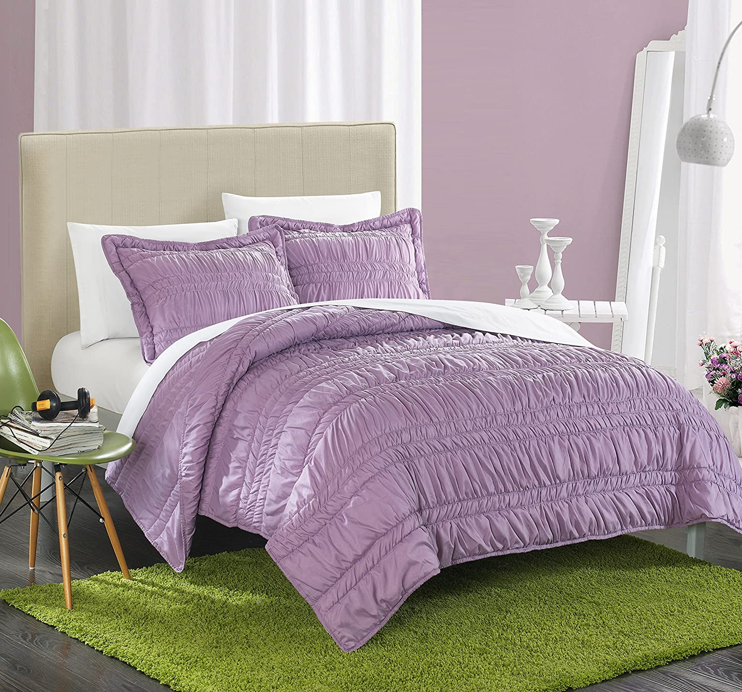 Chic Home 3 Piece Dreamer Super Soft Microfiber Pleated Ruffled Technique Quilt Set, Full, Purple