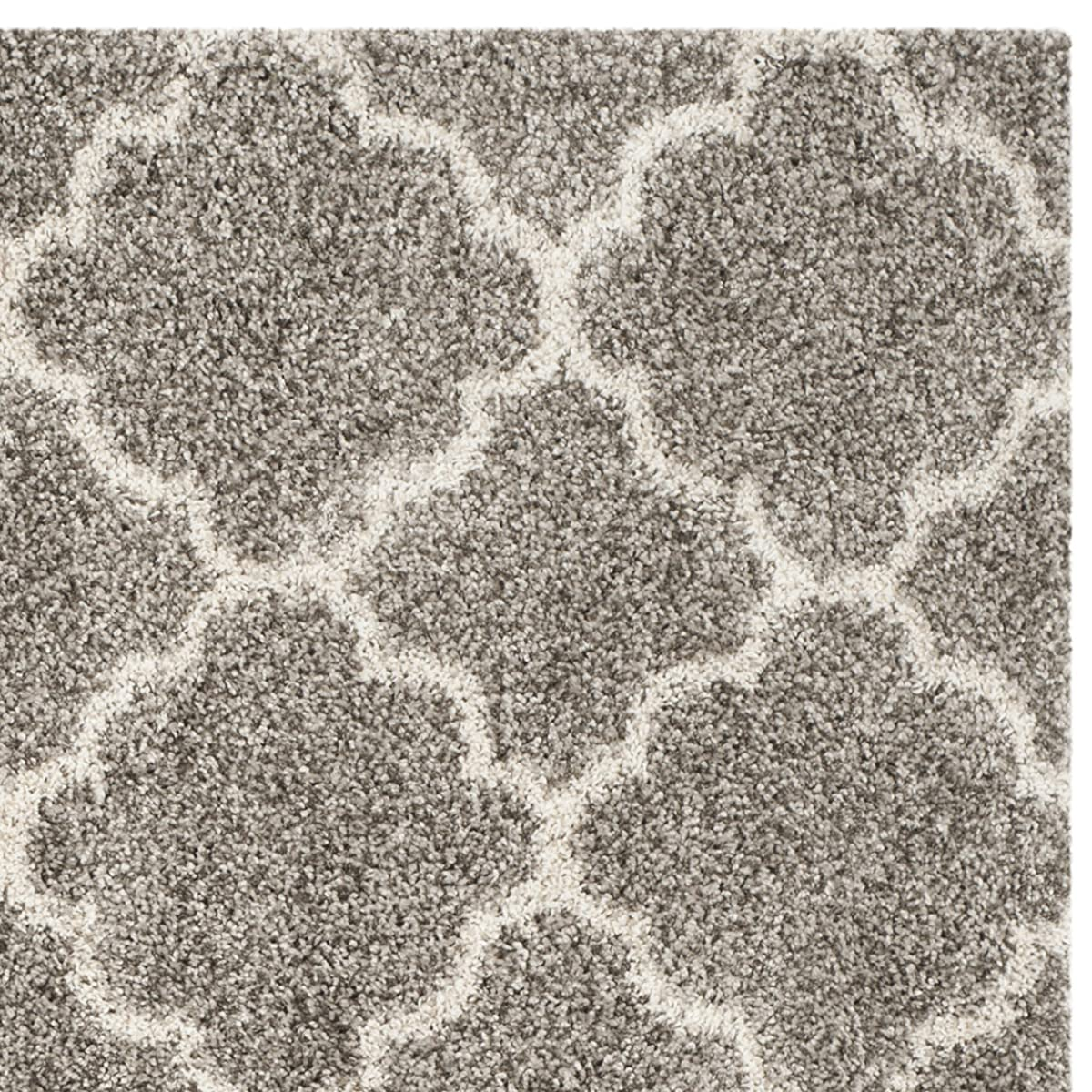 Safavieh Hudson Shag Collection SGH282B Grey and Ivory Square Area Rug, 7 feet Square (7 Square)