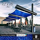 Royal Shade 12' x 16' Blue Rectangle Sun Shade Sail Canopy Outdoor Patio Fabric Shelter Cloth Screen Awning - 95% UV Protection, 200 GSM, Heavy Duty, 5 Years Warranty, We Make Custom Size (Color: Blue, Tamaño: 12' x 16')