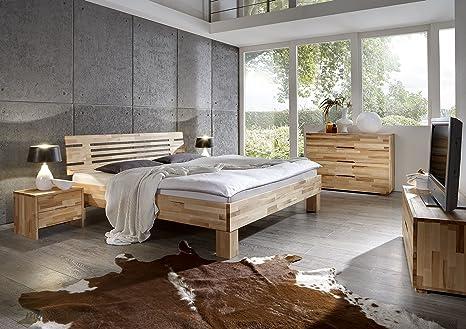 Massivholzbett Kernbuche Geölt Holzbett Bettgestell Massiv Bett Doppelbett Komforthöhe Korinna, Größe:180 x 200