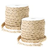Genie Crafts 2-Pack Natural Jute Rope, Thick Braided Twine String for DIY Crafts, Gift Packing, 0.4 Inch Wide x 26 Feet Long