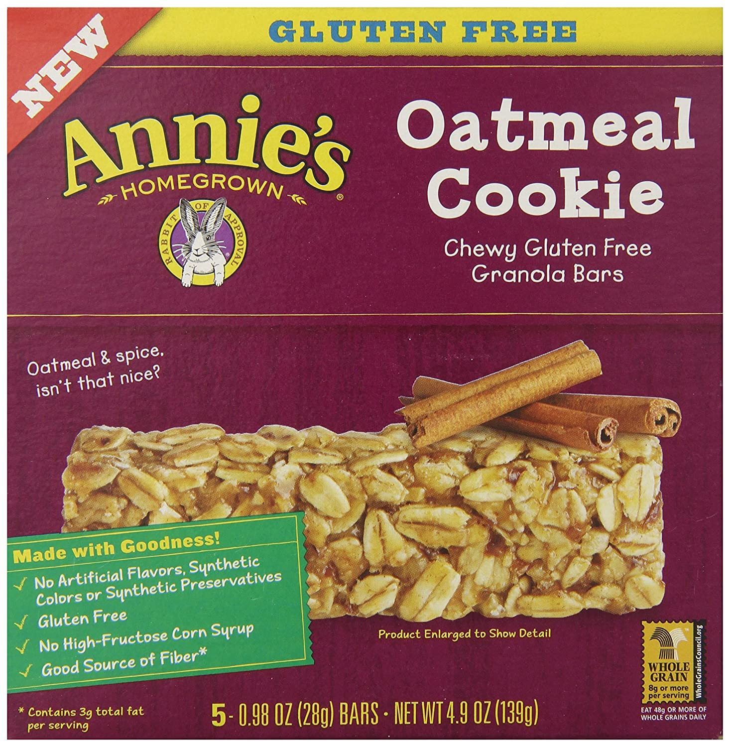 Amazon - 5-Ct Annie's Chewy Gluten Free Granola Bars - $1.99
