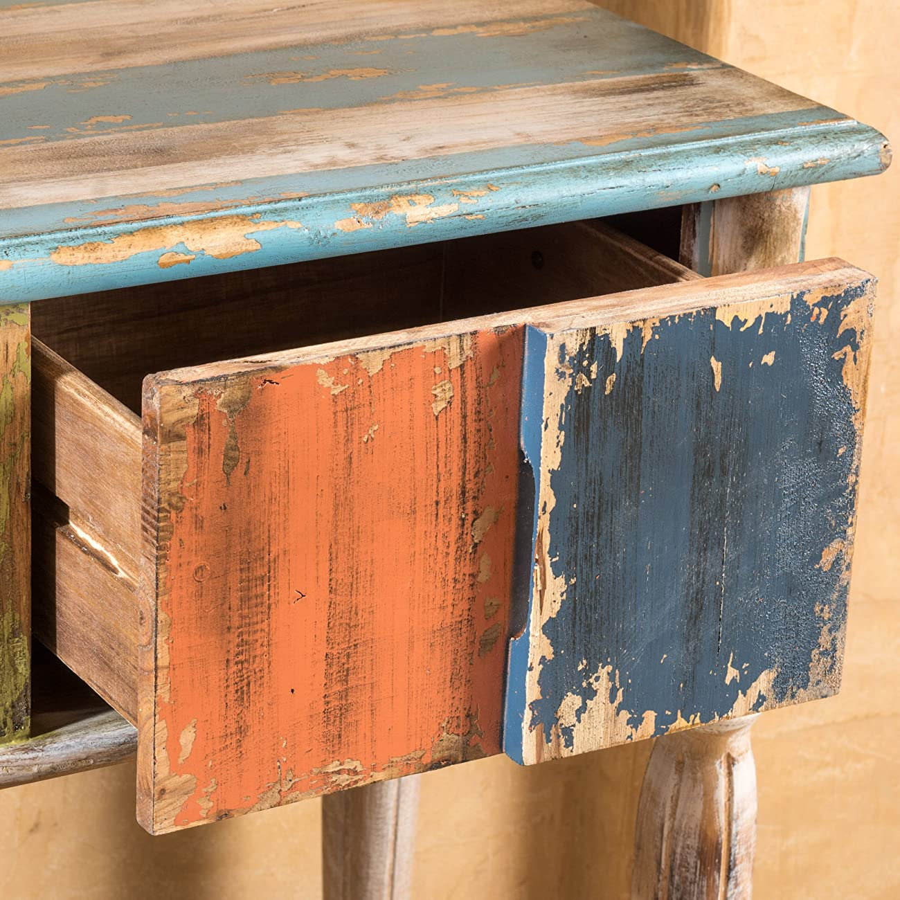 Leo Solid Wood 2 Drawer Console Table in Antique Weathered Multi-Color Style 3