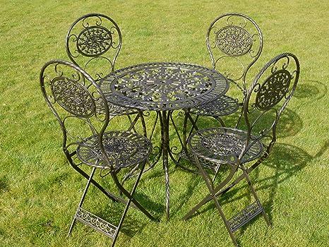 Black & Gold Wrought Iron 5 Piece Bistro Style Garden Patio Furniture Set