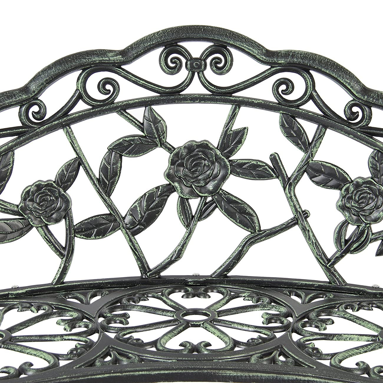 Best Choice Products BCP Outdoor Patio Garden Bench Cast Iron Antique Rose Backyard Porch Furniture 3