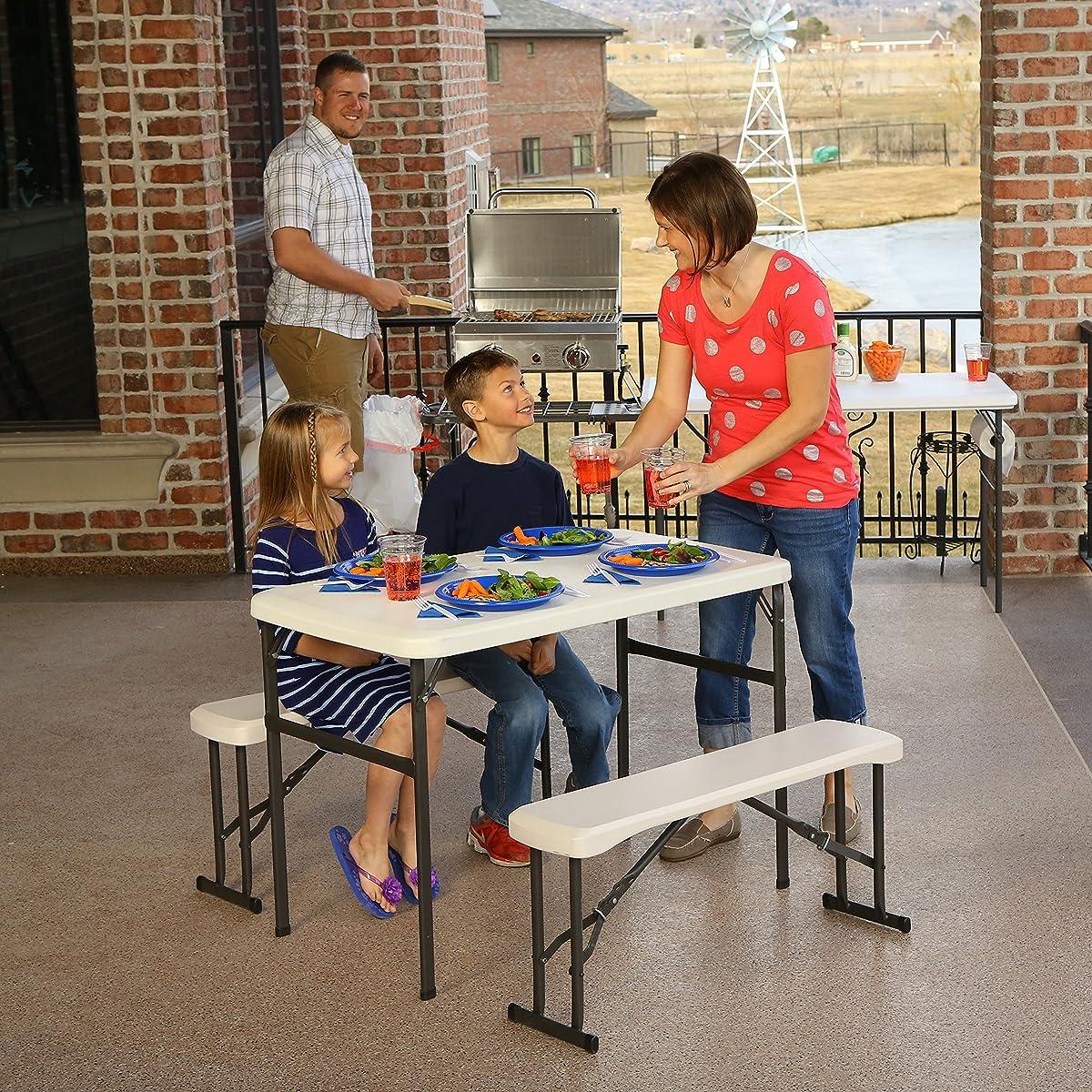 Lifetime 80373 Portable Folding Picnic Table and Bench Set, Almond