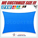 ColourTree 12' x 16' Blue Sun Shade Sail Rectangle Canopy Awning, Heavy Duty Commercial Grade ,We Make Custom Size