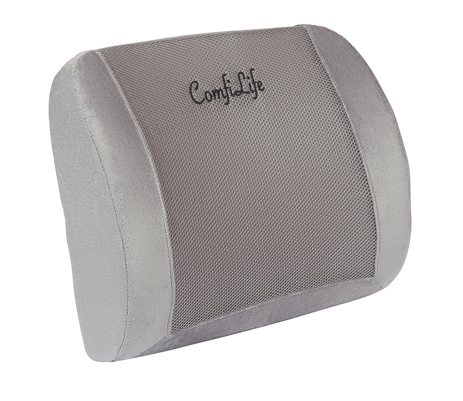 ComfiLife Memory Foam Orthopedic Back Support Lumbar Pillow with 3D Ventilative Mesh for Lower Back Pain and Posture Support. Great for Office Chair and Car Seat with Adjustable Strap, Gray